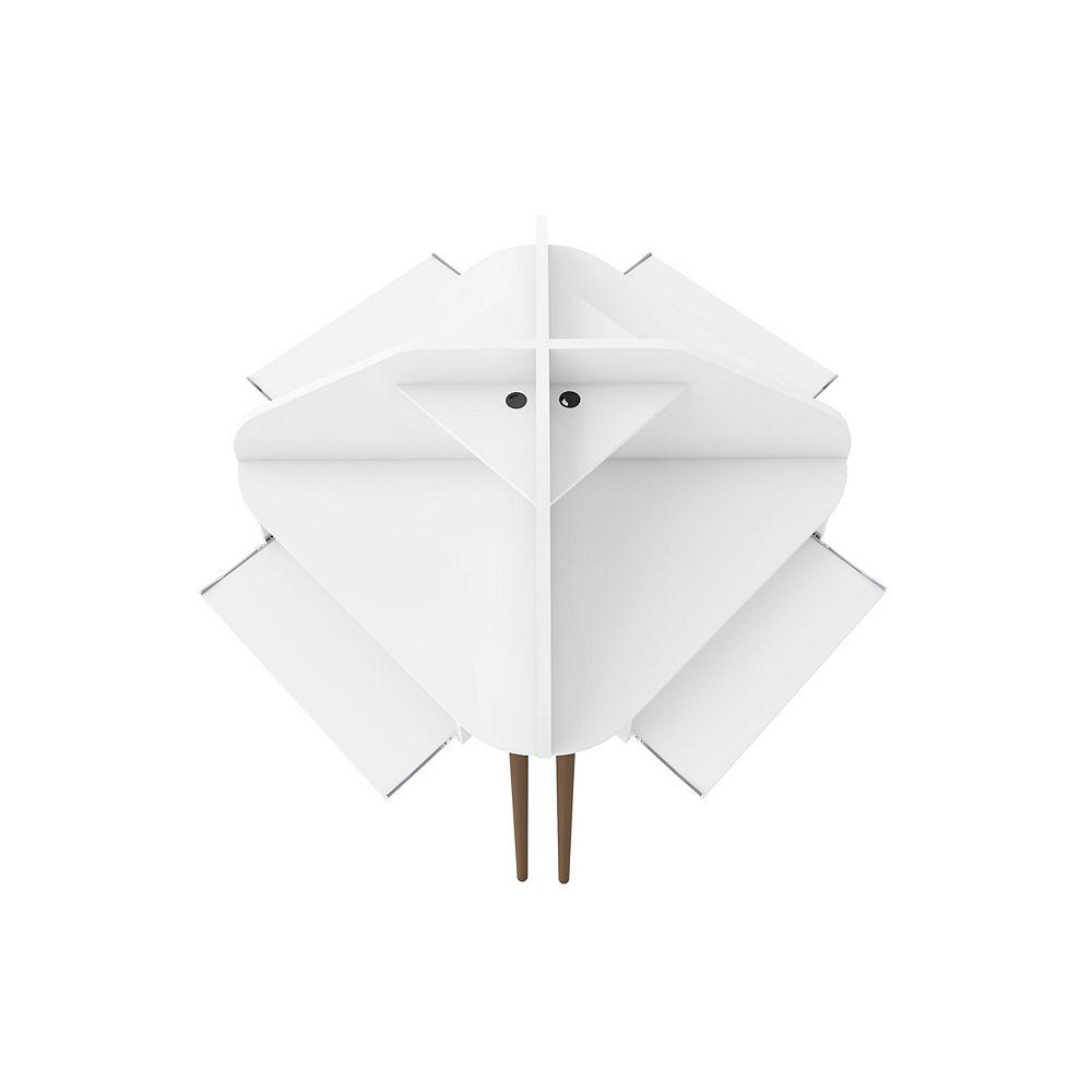 Manhattan Comfort Bradley 4-Piece Round Sectional Cubicle Desk in White