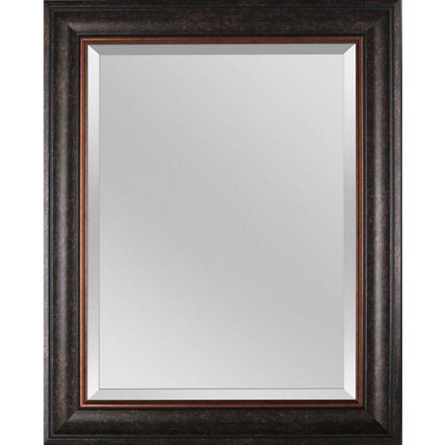 """Miroir biseauté encadré brun 24 """"x 30"""""""