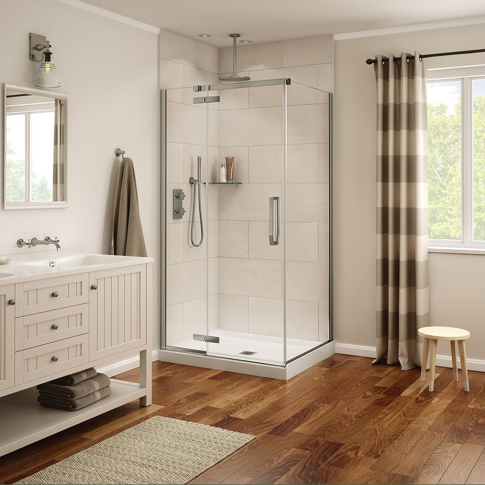 MAAX Davana 34 x 42 x 75 po. Porte de douche rectangulaire à pivot sans cadre, fini nickel brossé avec verre clair