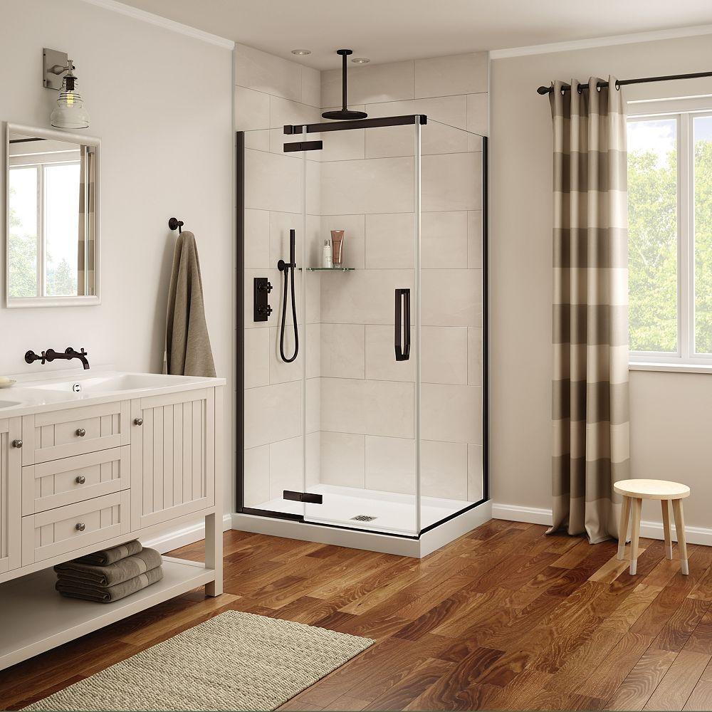 MAAX Davana 34 x 42 x 75 po. Porte de douche rectangulaire à pivot sans cadre, fini bronze foncé avec verre clair