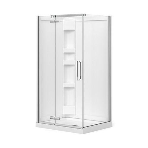 Davana Rect. 34-inch x 42-inch x 78 3/4-inch Frameless Corner Shower Stall in Chrome