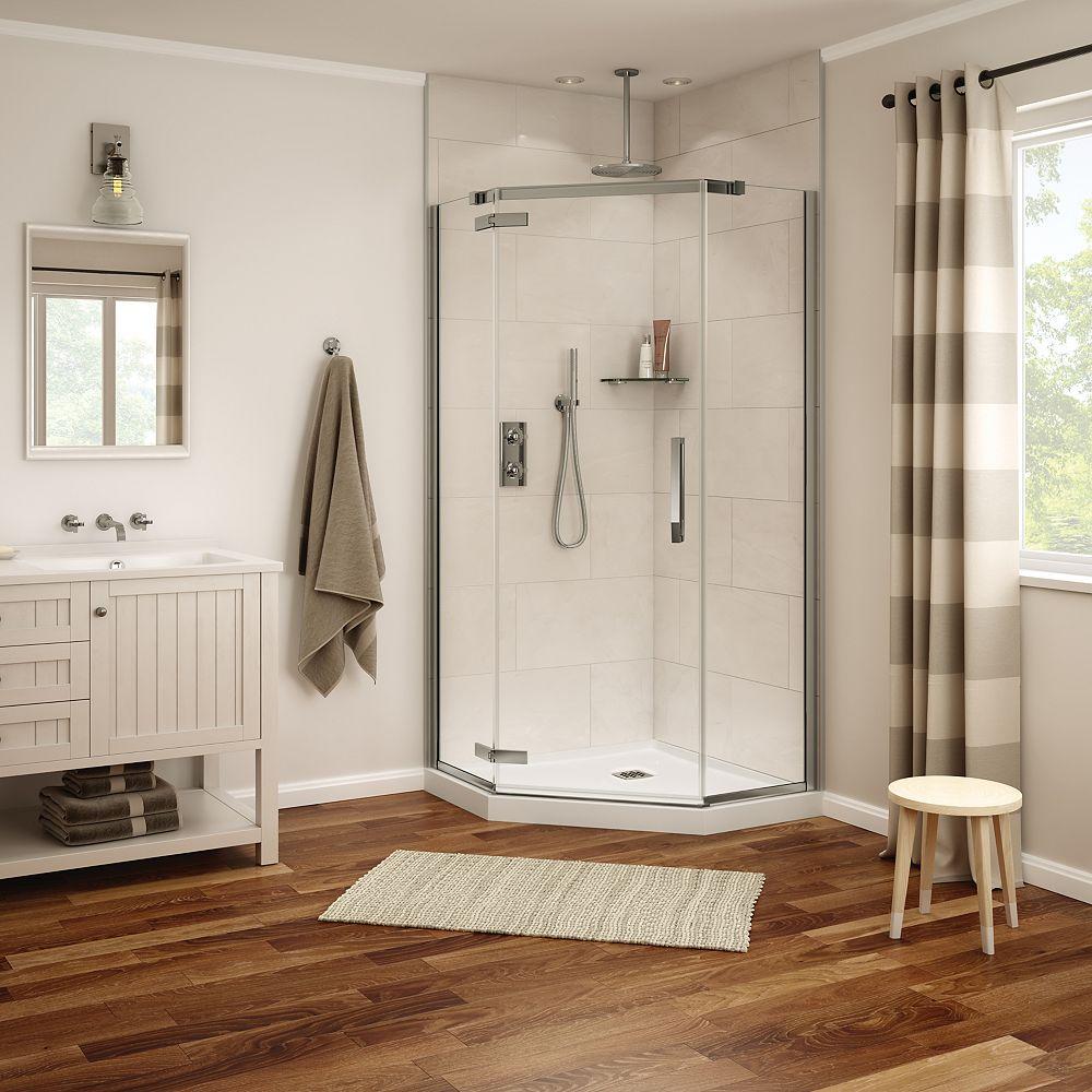 MAAX Davana 40 x 40 x 75 po. Porte de douche néo-angle à pivot sans cadre, fini nickel brossé avec verre clair