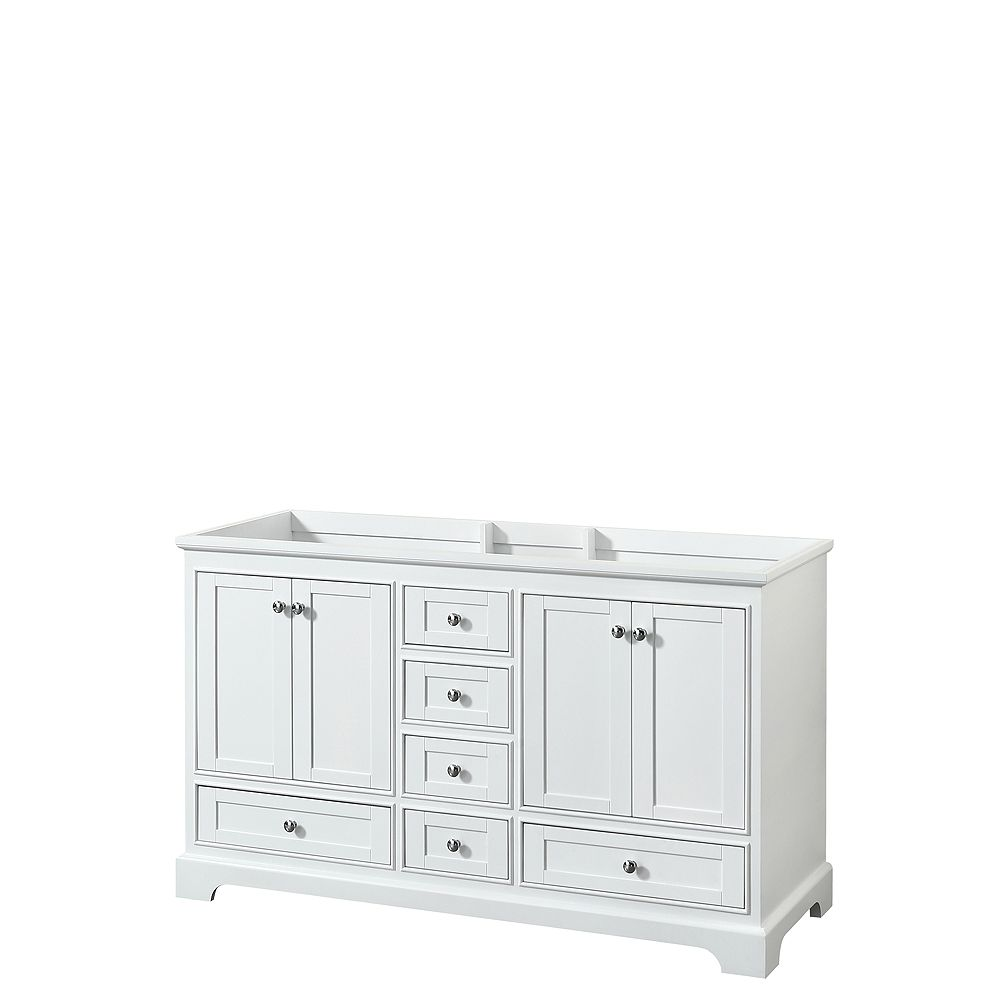 Wyndham Collection Deborah 60 Inch Double Vanity in White, No Counter, No Sinks, No Mirrors