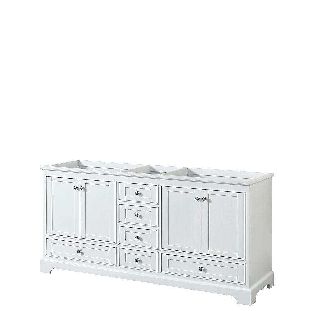 Wyndham Collection Meuble double Deborah 72 po Blanc, sans comptoir, sans évier, sans miroir