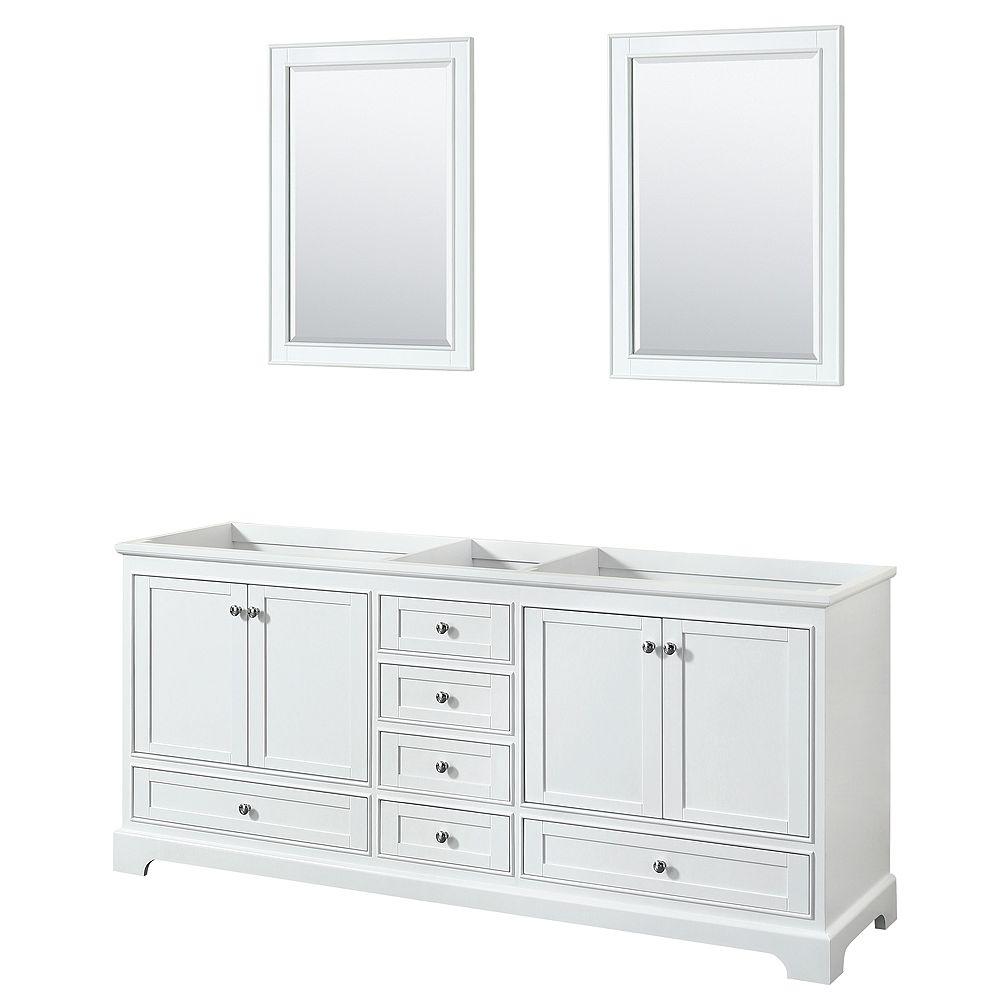 Wyndham Collection Meuble double Deborah 80 po Blanc, sans comptoir, sans évier, miroirs 24 po
