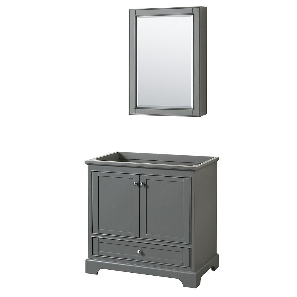 Wyndham Collection Deborah 36 Inch Single Vanity in Dark Gray, No Counter, No Sink, Medicine Cabinet