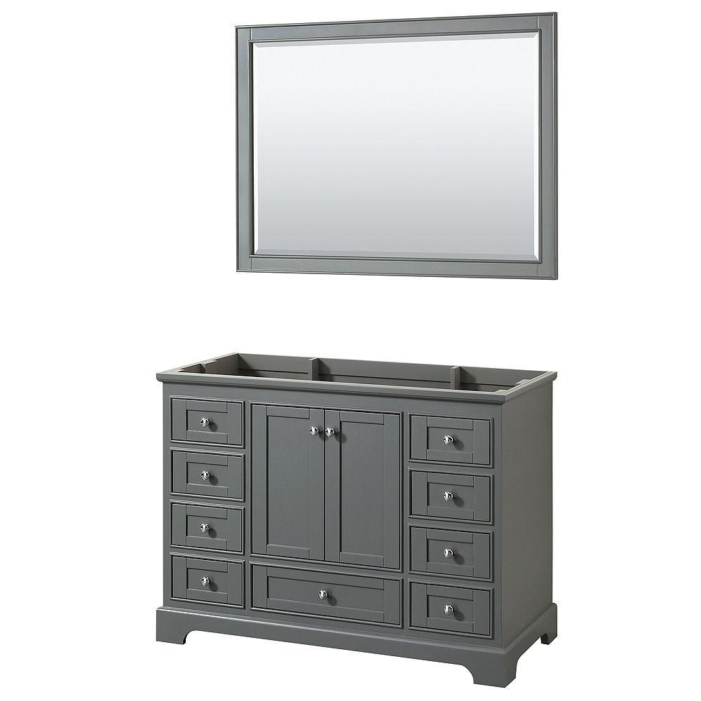 Wyndham Collection Meuble simple Deborah 48 po Gris foncé, sans comptoir, sans évier, miroir 46 po