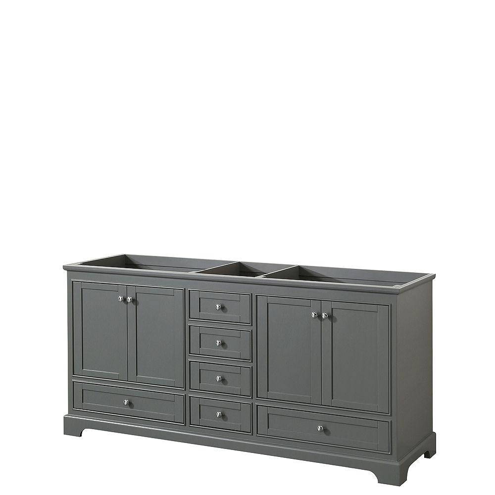 Wyndham Collection Deborah 72 Inch Double Vanity in Dark Gray, No Counter, No Sinks, No Mirrors
