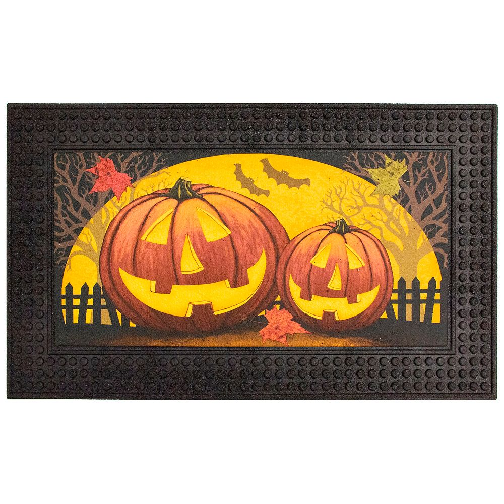 """Home Accents Holiday Holiday """"Tarma"""" 18-inch x 30-inch LED Rubber Door Mat with Festive Sounds and Lights, Pumpkins"""