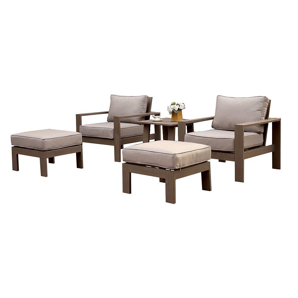 iPatio Ensemble de sièges dextérieur avec coussins Erie, aluminium, 5 pièces