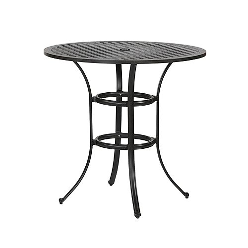 Outdoor Cast Aluminum 42 Inch Bar Table, Sits for 4