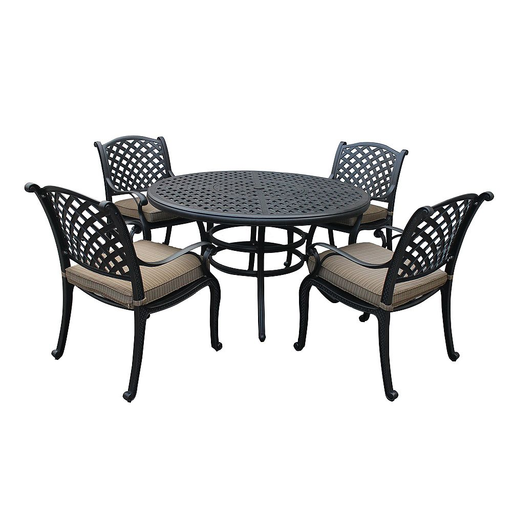 iPatio Outdoor Cast Aluminum 5 Piece Round Dining Set with Cushioned Arm Chairs