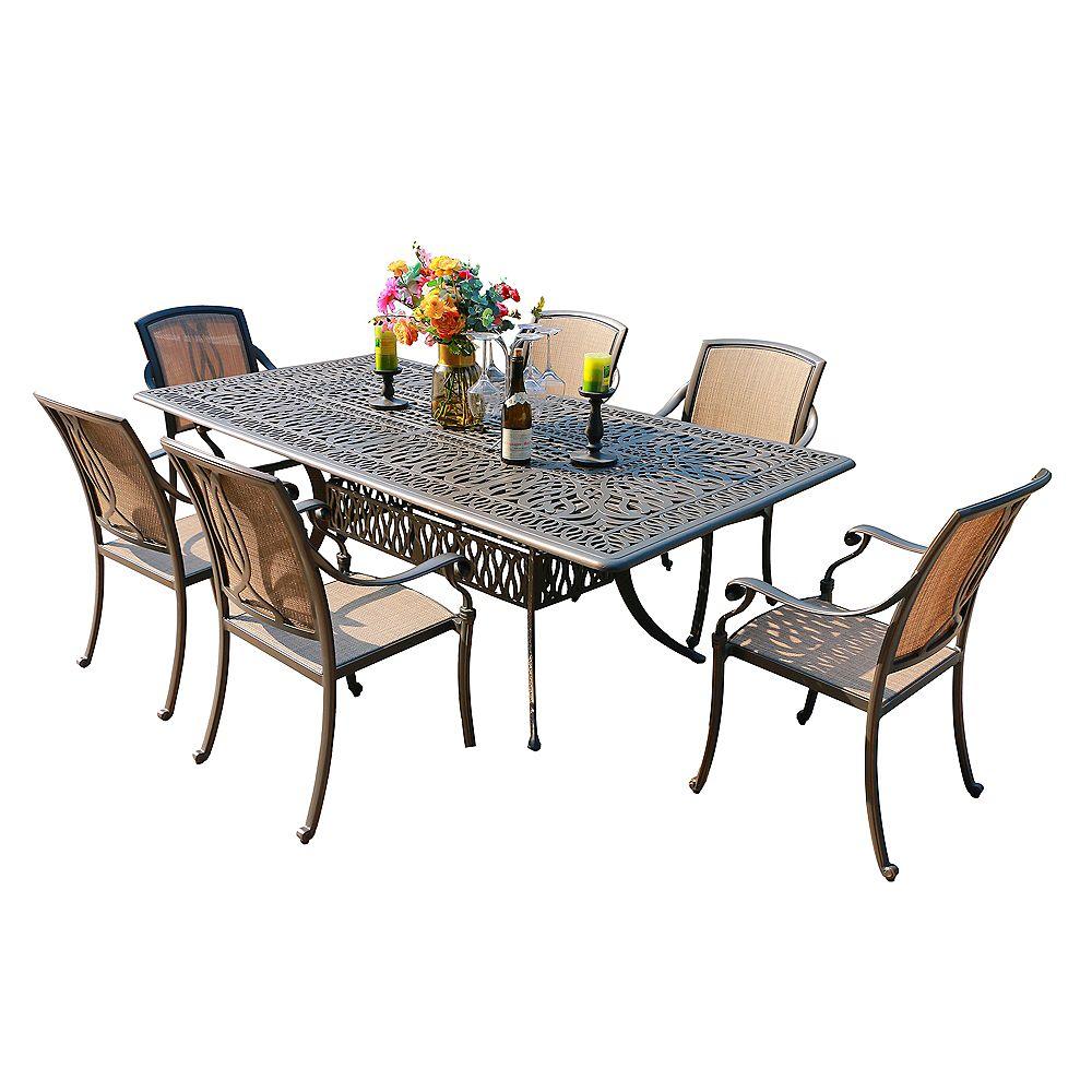 iPatio Ens. table rect. et fauteuils en toile de jardin Ontario, aluminium résistant à la rouille, 7 pièces