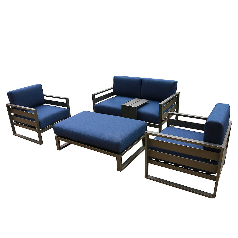 iPatio Outdoor Aluminum 5 Piece Sofa Seating Set with Blue Cushions