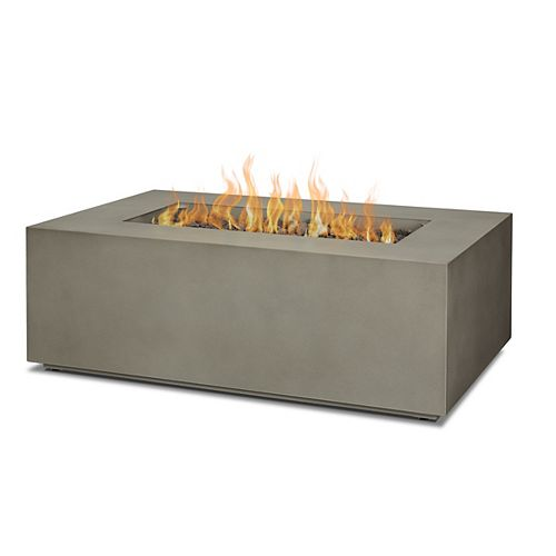 Aegean Small Rectangle LP fire table in Mist Gray with NG Conversion kit