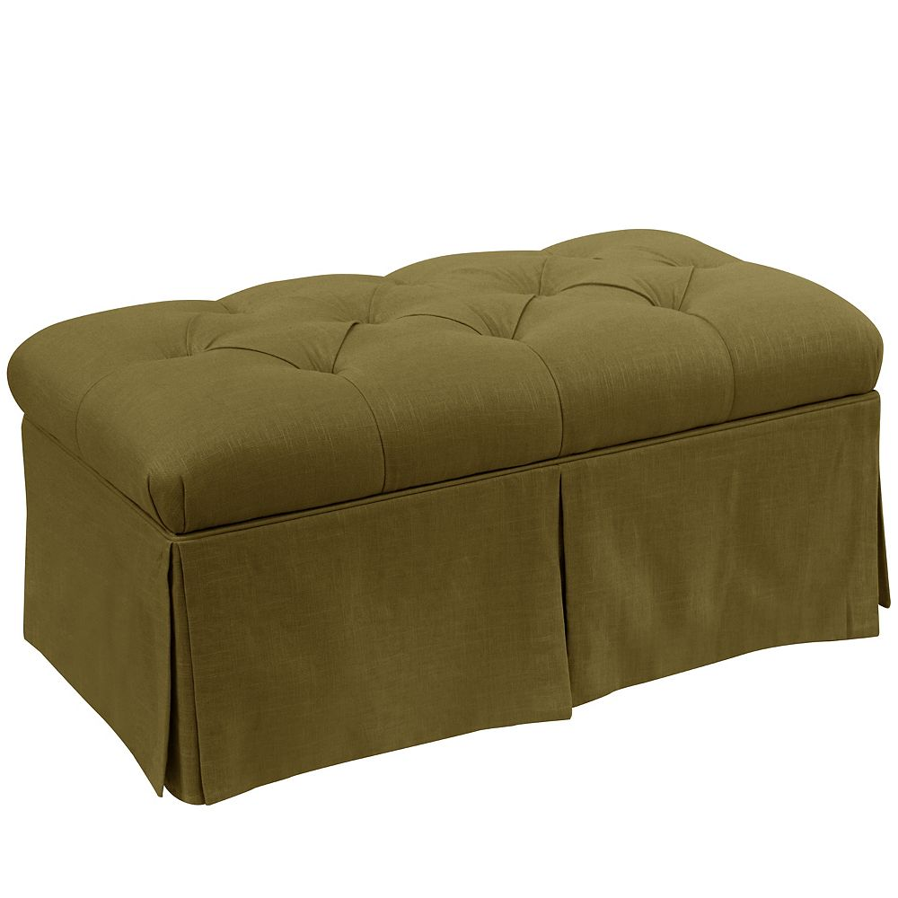 Skyline Furniture Fayette Skirted Storage Bench in Linen Olive