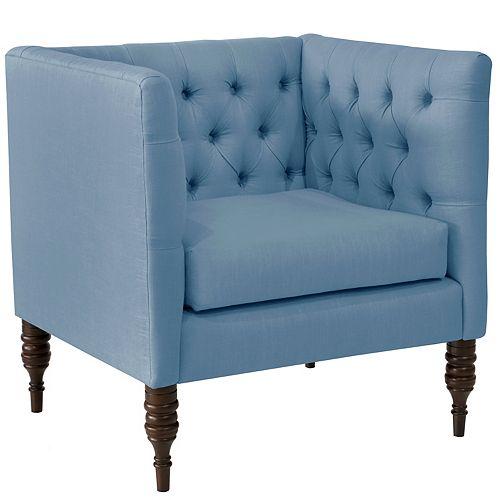 Brighton Tufted Arm Chair in Linen Denim