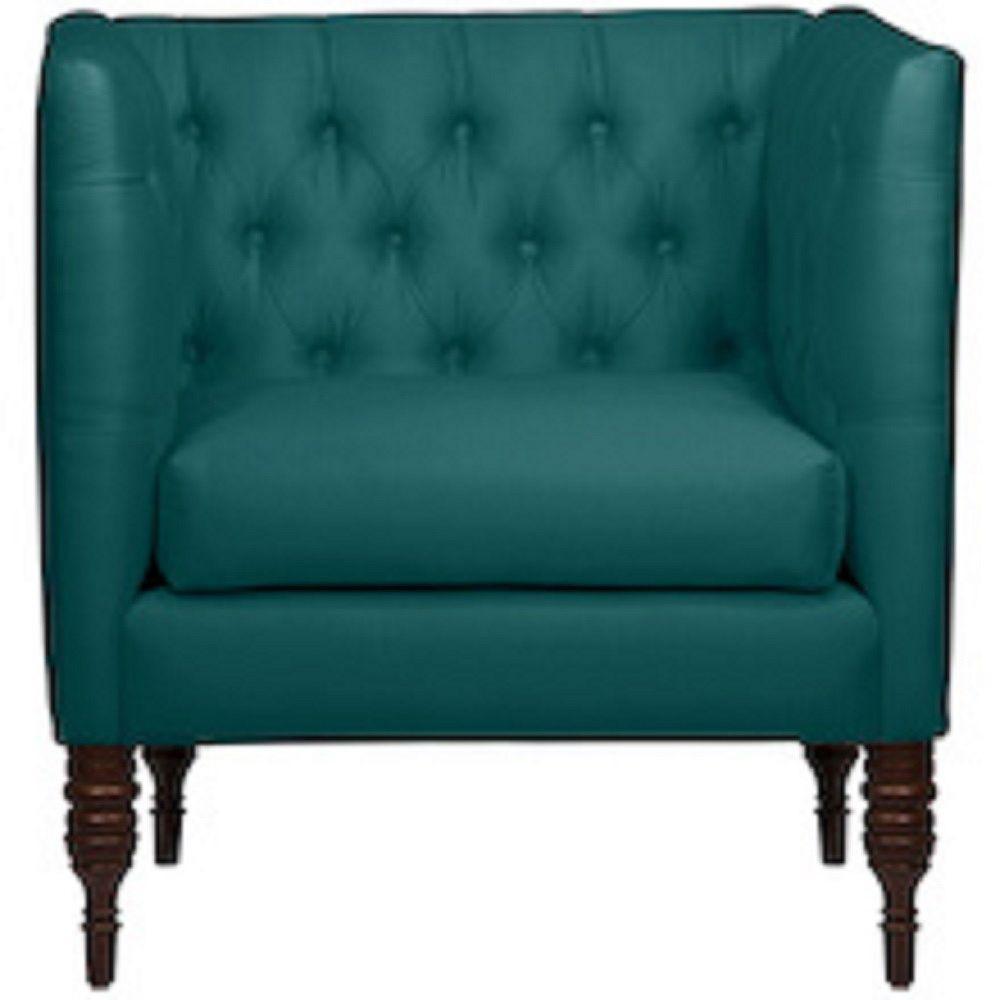 Skyline Furniture Brighton Tufted Arm Chair in Shantung Peacock