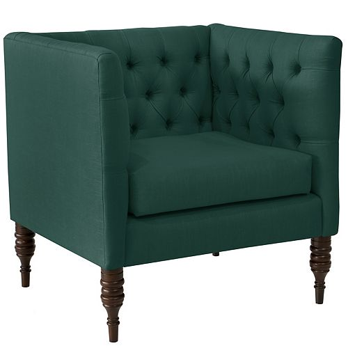 Brighton Tufted Arm Chair in Linen Conifer Green