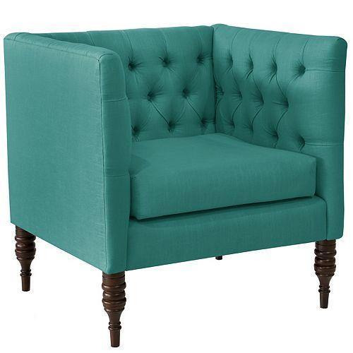 Brighton Tufted Arm Chair in Linen Laguna