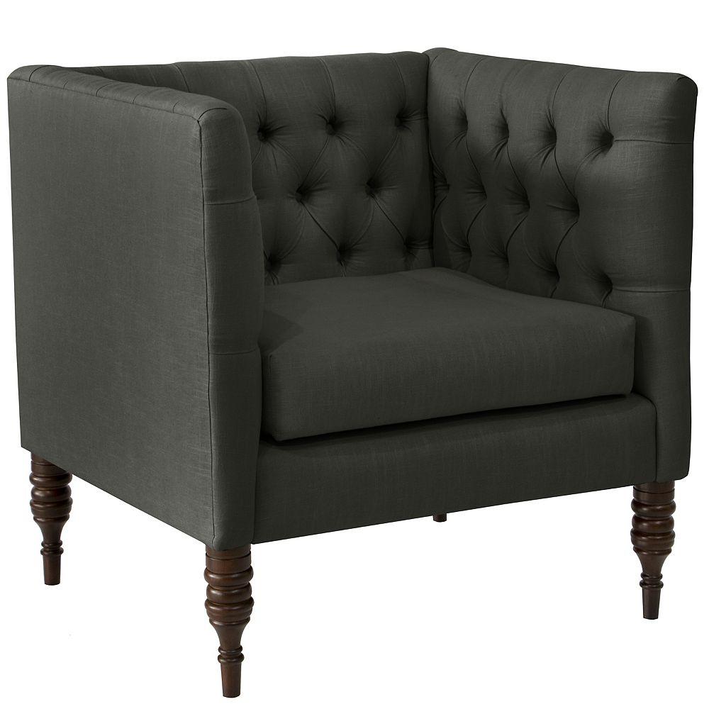 Skyline Furniture Brighton Tufted Arm Chair in Linen Slate