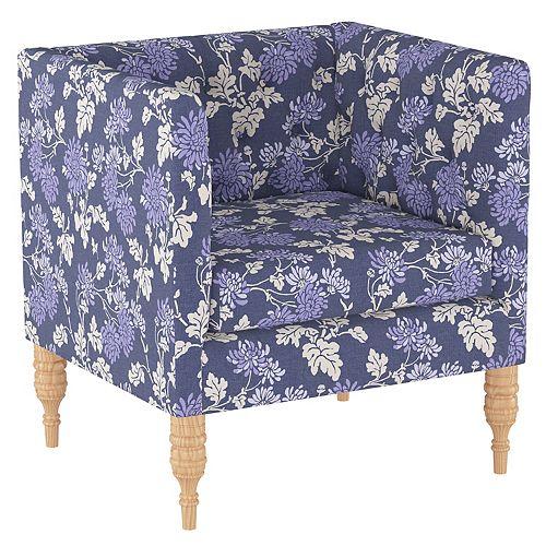 Brighton Tufted Arm Chair in Mum Blue Ground