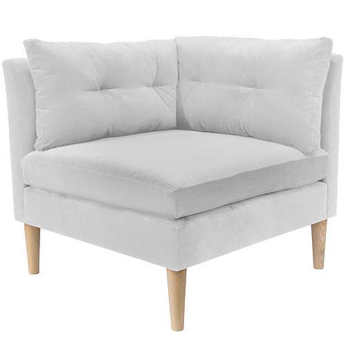 Augusta Corner Chair with Pull Seam Pillows in Premier White