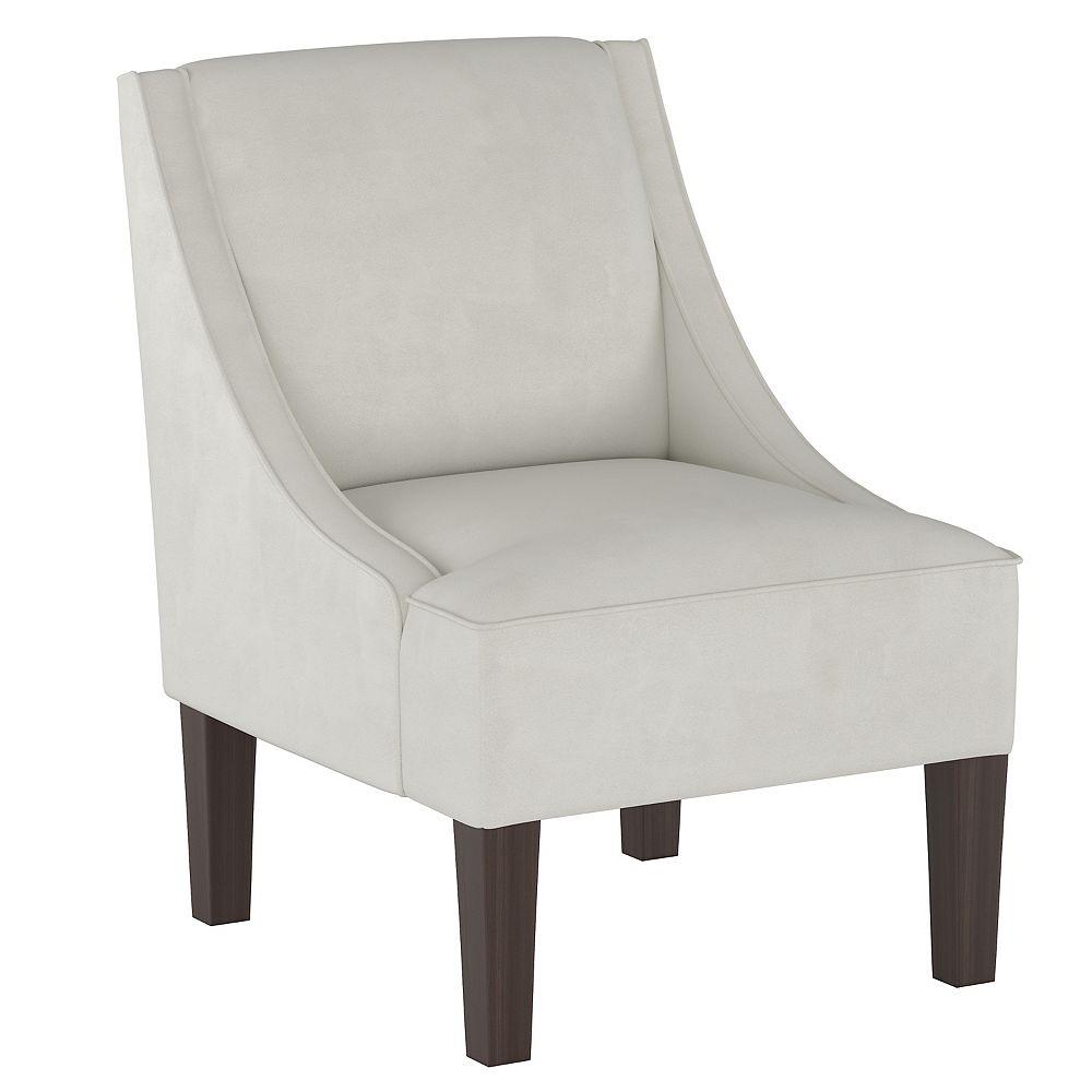 Skyline Furniture Fulton Swoop Arm Chair in Velvet Light Grey