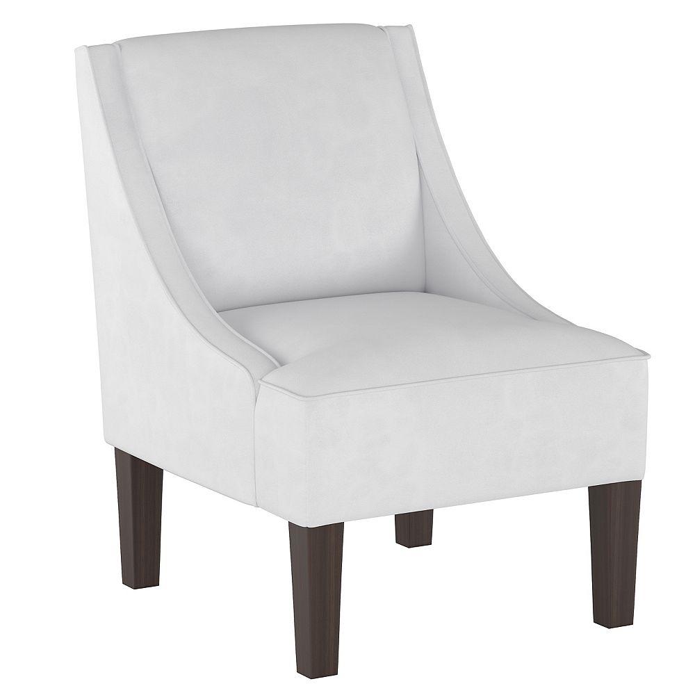 Skyline Furniture Fulton Swoop Arm Chair in Velvet White