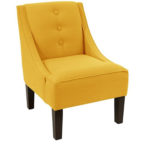 Streeterville Three Button Swoop Arm Chair in Linen French Yellow