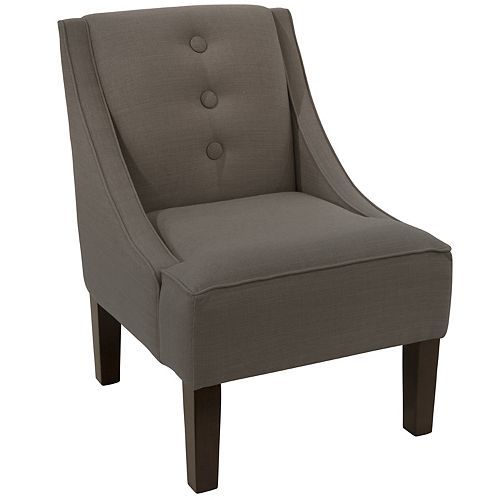 Streeterville Three Button Swoop Arm Chair in Linen Slate