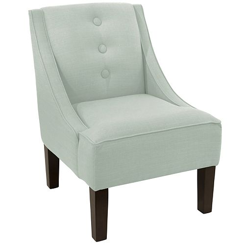 Streeterville Three Button Swoop Arm Chair in Linen Swedish Blue