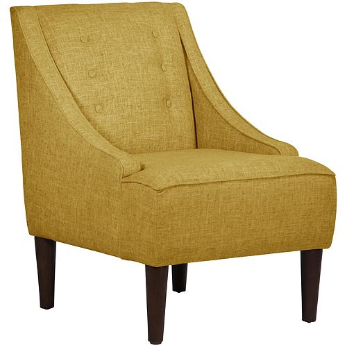 Humboldt Swoop Arm Chair with Buttons in Zuma Golden