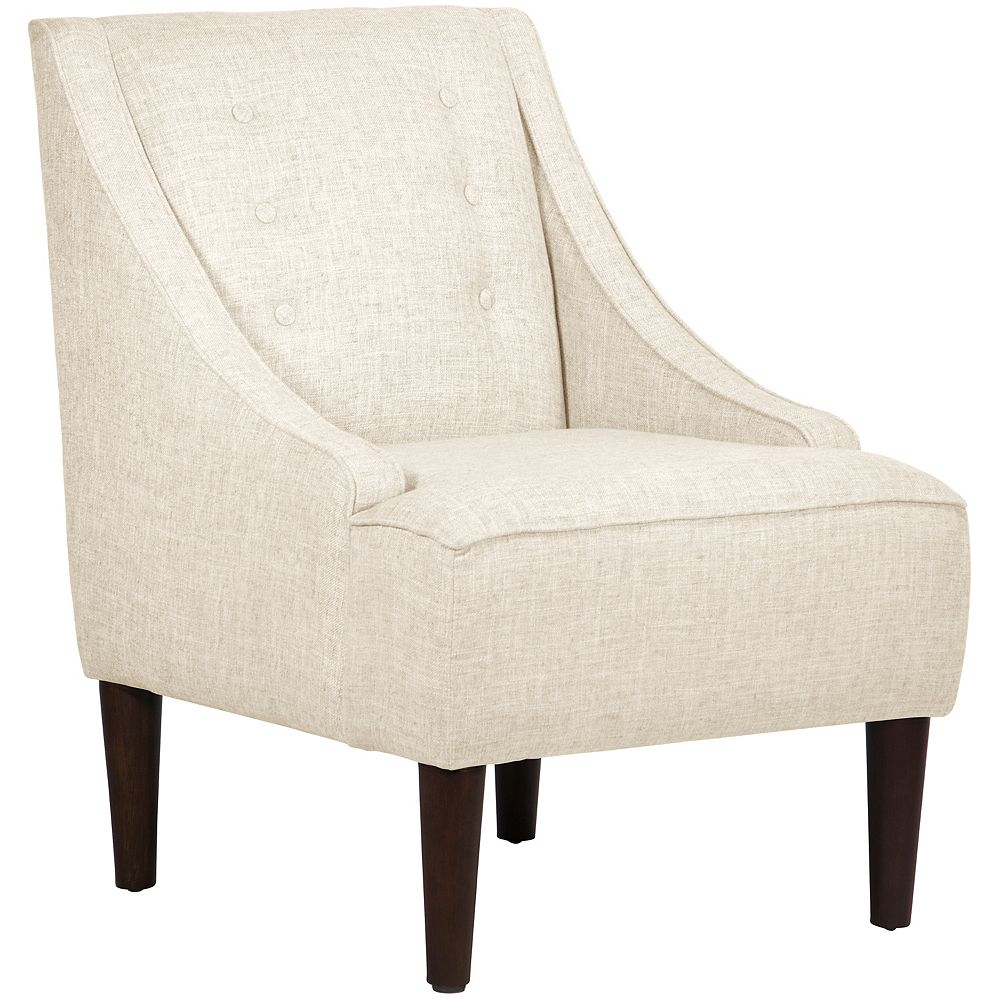 Skyline Furniture Humboldt Swoop Arm Chair with Buttons in Zuma White