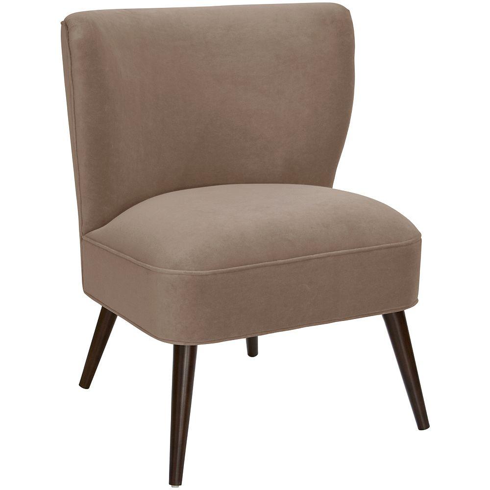 Skyline Furniture Altgeld Curved Armless Chair in Velvet Cocoa