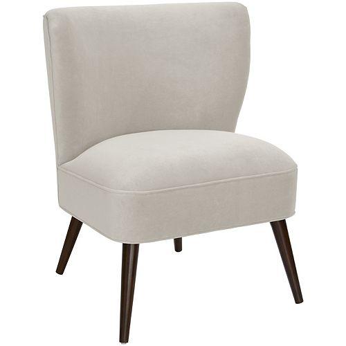 Altgeld Curved Armless Chair in Velvet Light Grey