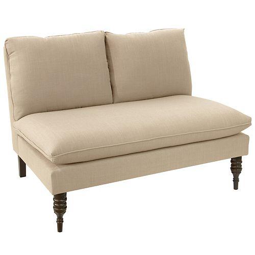 Miller Armless Love Seat in Linen Linen