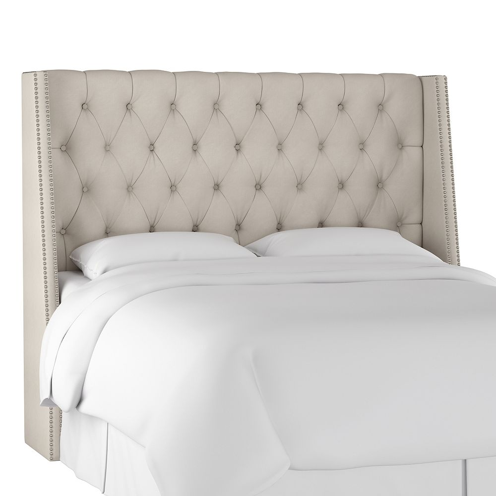 Skyline Furniture Bellevue Queen Nail Button Tufted Wingback Headboard in Mystere Dove
