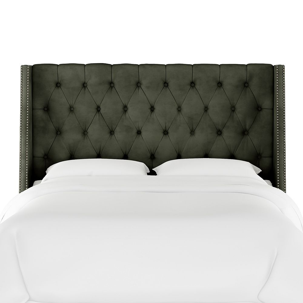 Skyline Furniture Bellevue Queen Nail Button Tufted Wingback Headboard in Velvet Pewter