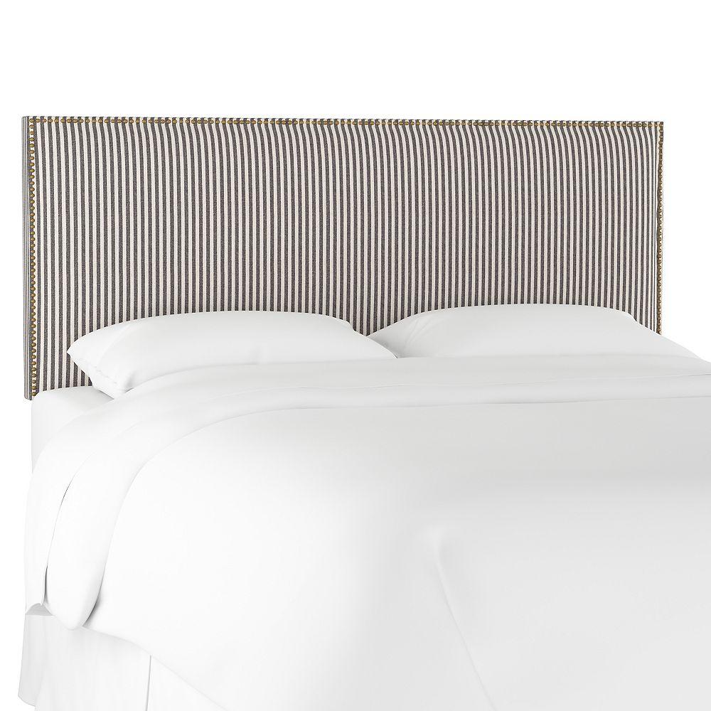 Skyline Furniture Randolph King Nail Button Border Headboard in Scout Stripe Charcoal