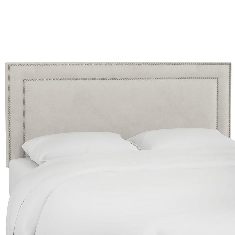 Skyline Furniture Kimball Queen Nail Button Border Headboard in Regal Silver Grey