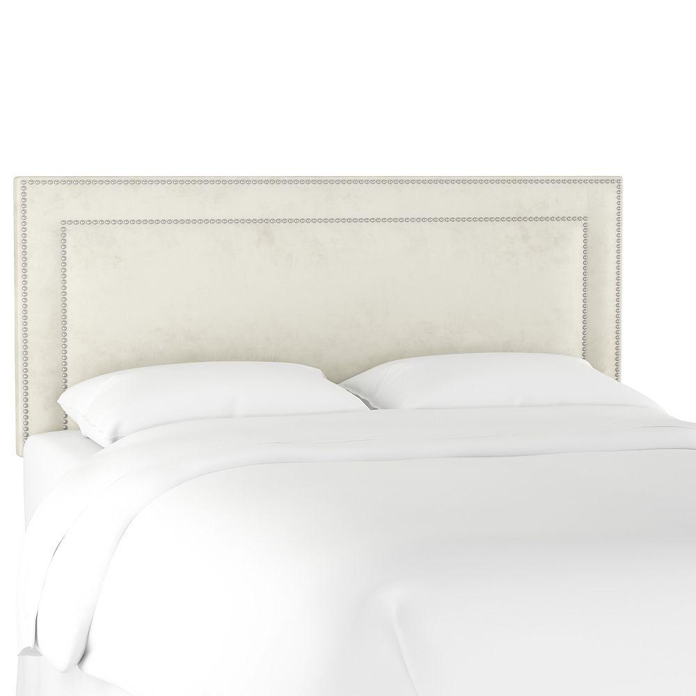 Skyline Furniture Kimball Twin Nail Button Border Headboard in Velvet Light Grey
