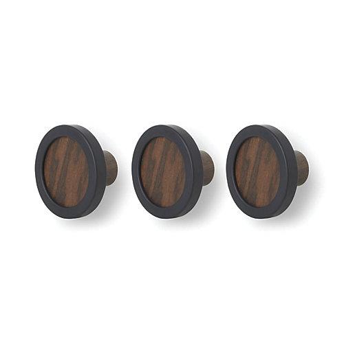 Umbra Hub 3 Hook Black/Walnut