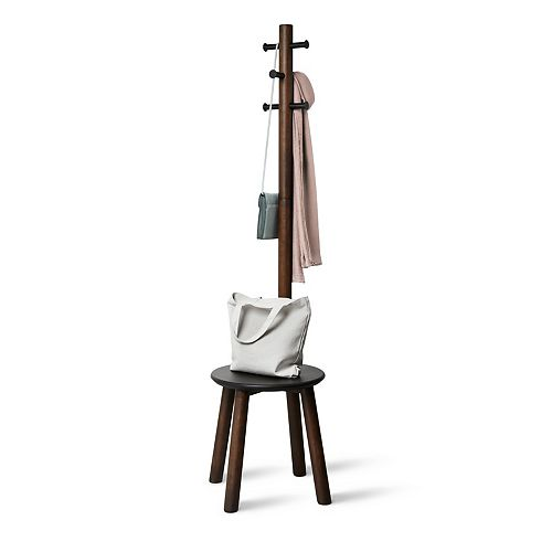 Umbra Pillar Stool/Coatrack Black/Walnut