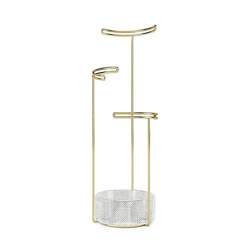 Umbra Tesora Jewellery Stand Glass Brass