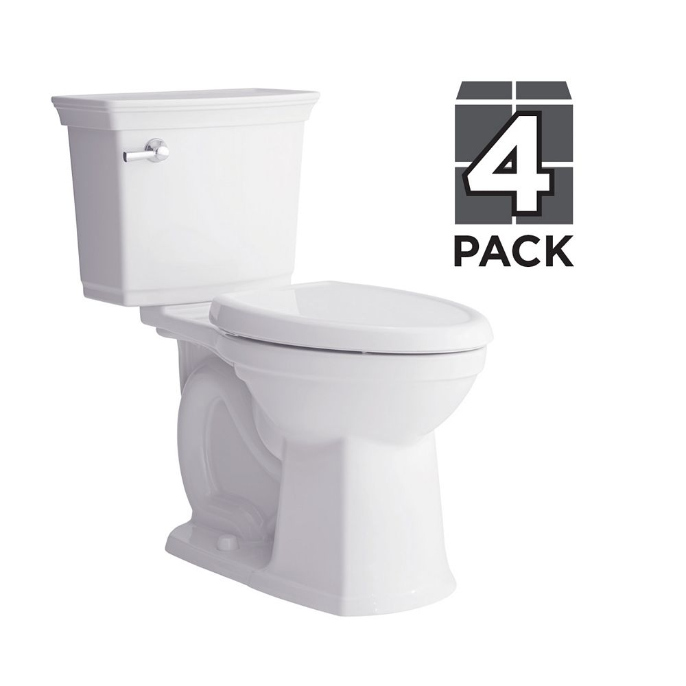 American Standard Optum Vormax 2-Piece Single-Flush Elongated Bowl Toilet in White (Pack of 4)