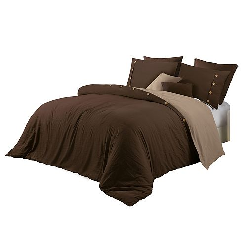 CHC Solid Prewashed Reversible Duvet Cover Set Chocolate Queen