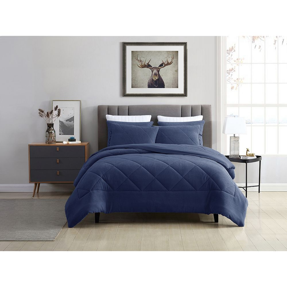 CHC Reversible Coral Fleece Comforter Set Blue Twin