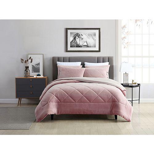Reversible Coral Fleece Comforter Set Rose Queen