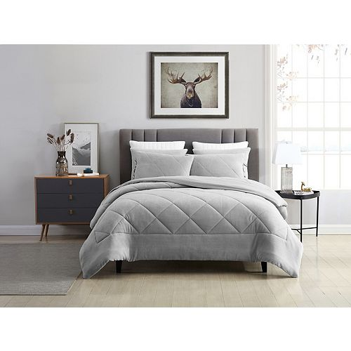 Reversible Coral Fleece Comforter Set Silver Queen